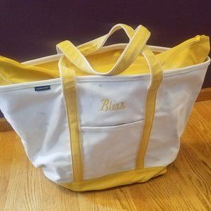 Lands End X-Large Zip Top Yellow Canvas Tote